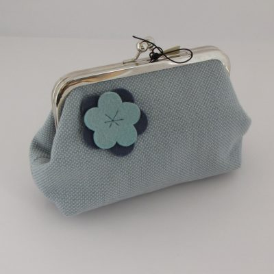 Unikatna modra torbica z okvirčkom / Unique blue Kisslock purse