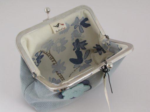 Unikatna modra torbica z okvirčkom / Unique blue Kisslock purse
