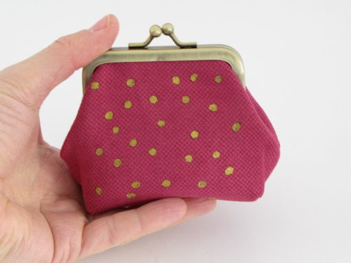 Lila drobižnica z zlatimi pikami / Purple Coin purse with gold dots